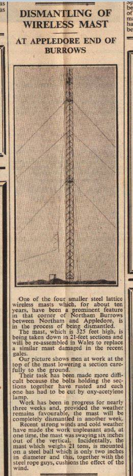 Newspaper - removal of the masts